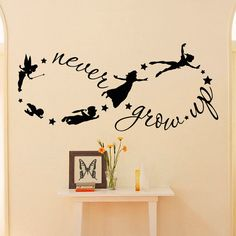 Peter Pan Wall Decal Children Flying Silhouette Never Grow Up Quote Fantasy Fairytale Infinity Symbol Wall Decals Nursery Kids Q037