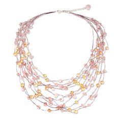 NOVICA Rose Quartz Peach Cultured Freshwater Pearl Silver Plated Beaded Necklace 'Cascade' ** Click affiliate link Amazon.com on image for more details.
