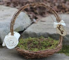 Rustic Bird Nest Flower Girl Basket With Twigs Of Grapevine Beautiful Off White Roses And A Personalized Heart With Custom Ribbon