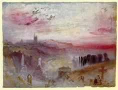 Joseph Mallord William Turner,View Over Town At Sunset: A Cemetery In The Foreground oil painting reproductions for sale Joseph Mallord William Turner, Watercolor Landscape Paintings, Abstract Landscape, Watercolour, Turner Watercolors, Turner Painting, Oil Painting Gallery, English Artists, Oil Painting Reproductions