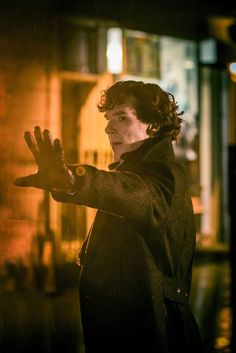 "Purposeful thrusting forward of the hand. | The 30 Pictures From ""Sherlock"" You've Waited Nearly Two Years To See"