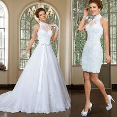 High Neck Lace Bridal Gown Two in One Wedding Dress Custom Size 2 4 6 8 10 12+