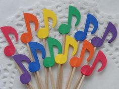 Small Rainbow Music Note Cupcake Toppers - Food Picks - Party Picks - Appetizer Picks (Set of Music Theme Birthday, Music Themed Parties, Music Party, Birthday Party Themes, 16th Birthday, Music Note Cake, Music Notes Decorations, Moldes Para Baby Shower, Music Crafts