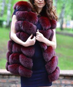 Burgundy dyed fox fur vest                                                                                                                                                                                 More