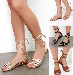 81167187b Lace Up Metallic Leg Wrap Thong Self Tie Flat Gladiator Flat Sandals INDIO