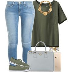 Army Green. by livelifefreelyy on Polyvore featuring polyvore fashion style Uniqlo Frame Denim Vans Prada Versace