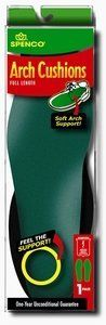 Insole Arch Cushion Full length W 11-12 M 10-11 by mfr. Spenco. $15.85. Same long-lasting quality insole material as the slip-in insole but with an added soft arch cushion for extra comfort. Available in full length cushion for heel to toe comfort or in a 3/4 length cushion extending from the heel to the base of the toes. The 3/4 length allows extra toe room in tighter fitting shoes.
