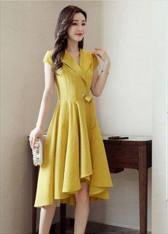 damvaydep.net - Đầm xòe tay con thiết kế dễ thương màu vàng