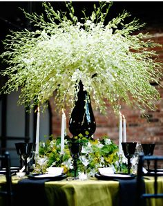Our Muse - English Garden Table Design - Look 3 - English Garden: Lush flowers are the epitome of simplicity in stark black and white - escort cards, invitations, letterpress printing, menus, wedding