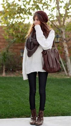 A Great way to look good and stay warm and comfy is to wear an oversized sweeter with a comfy scarf and jeans or lagging and the brow combat boots and beanie ties this outfit off. This is an easy outfit and prefect for school.