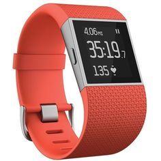 Fitbit 'Surge' Wireless Fitness Watch ($250) ❤ liked on Polyvore featuring jewelry, watches, tangerine, fitbit, heart shaped jewelry, alarm wrist watch, heart watches and heart jewelry