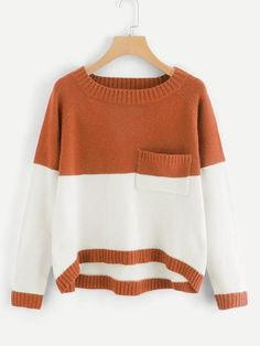 Shop Plus Pocket Patched Two Tone Jumper online. SHEIN offers Plus Pocket Patched Two Tone Jumper & more to fit your fashionable needs. Grunge Look, Style Grunge, 90s Grunge, Soft Grunge, Grunge Outfits, Winter Outfits, Fashion Sale, Fashion News, Fashion Outfits
