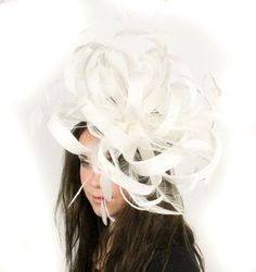 White Sinamay and Feathers Fascinator Hat for by Hatsbycressida