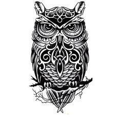 Owl Upper Arm Temporary Tattoo Flash