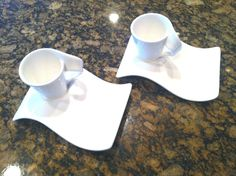 VILLEROY & BOCH 4 Pcs ESPRESSO CUPS SNACK PLATE/SAUCER SET WHITE NEW WAVE #VilleroyandBoch