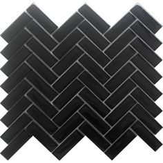 Herringbone Tile Pattern, Herringbone Subway Tile, Black Subway Tiles, Chevron Tile, Black Tiles, Waterline Pool Tile, Herringbone Fireplace, Eye Illusions, Black Backsplash