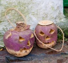 The tradition of pumpkin carving began not with carving pumpkins, but carving potatoes, turnips, and beets. The Irish would carve faces into these in the hope of warding away evil spirits that roamed the land on Samhain. This idea came from the story of Jack of the Lantern (Stingy Jack). When the Irish came to America, they used pumpkins, which were native and much easier to carve.