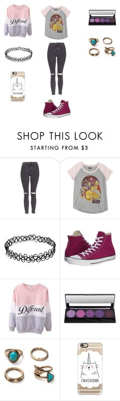 """""""Outfit #9"""" by hollieb1711 ❤ liked on Polyvore featuring Topshop, Hybrid, Converse and Casetify"""