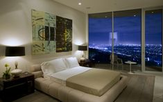 bedroom with night view.  How pleasant to fall asleep looking at.