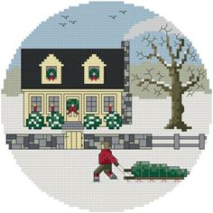 Bringing Home the Tree - Downloadable counted cross-stitch pattern from Thomas Beutel Original Designs: $4.99