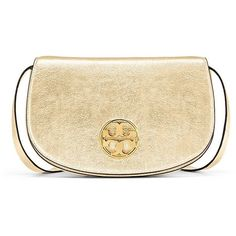 Tory Burch Jamie Metallic Clutch (435 CAD) ❤ liked on Polyvore featuring bags, handbags, clutches, spark gold, leather crossbody handbags, tory burch purse, evening handbags, leather hand bags and leather cross body purse