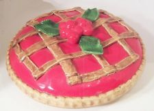 Ceramic Pie Keeper / 12 Pie Plate and Cherry Pie Cover from Fortunoff LI NY nr & Ceramic Decorative Covered Lid Lemon Pie Plate Dish Vintage ...