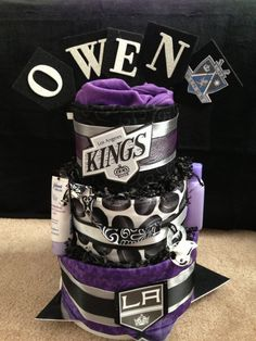 This diaper cake was a custom order. For a duplicate or another team please email me. Baby Shower Themes, Baby Boy Shower, Baby Shower Gifts, Baby Showers, Shower Ideas, Diaper Cake Boy, Diaper Cakes, Hockey Cakes, La Kings Hockey