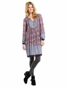 Indigo Collection Floral Border Tunic Dress-Marks & Spencer