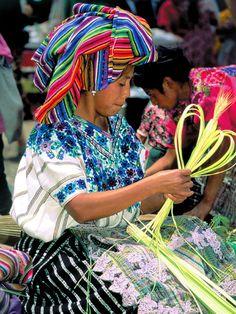 Mayan weaver in Antigua, Guatemala