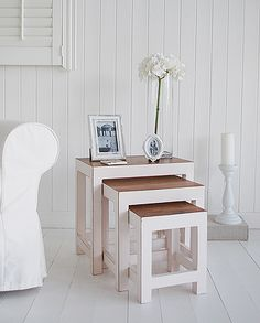 Antique white wooden nest of table
