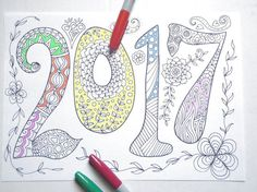 2017 new year adult coloring book kids page di LaSoffittaDiSte
