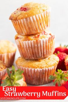 These Easy and Healthy Strawberry muffins are amazing! Made with Greek yogurt and fresh strawberries for the perfect breakfast or snack. #easyrecipes #healthyrecipe Breakfast Cafe, Breakfast Items, Perfect Breakfast, Breakfast Recipes, Dessert Recipes, Yeast Bread Recipes, Banana Bread Recipes, Baking Recipes, Easy Recipes