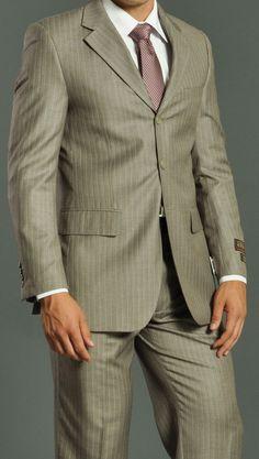 Men's Three Button Tan Striped Suit: Men Suits | Mens Wear | Mens Wedding Suit | GoSuit.com