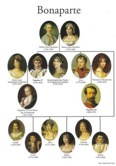 Napoleon and the Napoleon Wars- This is a good representation of the Bonaparte family tree. French History, European History, World History, Family History, Ile D Aix, First French Empire, Royal Family Trees, French Royalty, French Revolution