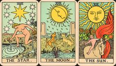"""Here's your chance to zoom in on three cards from one of the first Rider Tarot decks ever printed -- the Star, Moon, and Sun from my copy of an original """"Pam B,"""" which probably came off the presses..."""