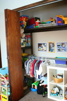 Montessori Toddler Closet. I like how the side wall is used too