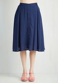 With Books to Match Skirt in Navy. Youve got the drive to earn that degree, and this navy-blue skirt proves you have A style smarts, too! #blue #modcloth