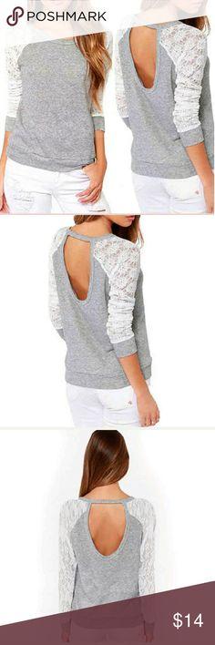 Lace sleeve Sweatshirt Adorable. Open back. Tops Sweatshirts & Hoodies
