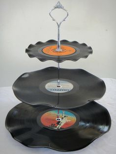 3 Tier Cup Cake Stand Vintage Retro Vinyl Record Rockabilly Wedding / Rock n Roll / Kitchen / Supertramp ($A20.00) - Svpply