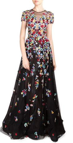 Zuhair Murad Floral Applique Tulle Gown