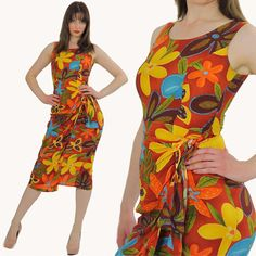 Vintage 80s 90s Hawaiian Wrap Dress Floral by SHABBYBABEVINTAGE, $68.00