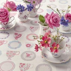 Clarke and Clarke - Nostalgic Prints Fabric Collection - Pink, white and blue cup and saucer tablecloth Clarke And Clarke Fabric, Informal Weddings, Blue Cups, Mad Hatter Tea, My Cup Of Tea, Decoration, Tea Time, Printing On Fabric, Tea Party