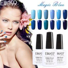 Promo Elite99 LED Gel UV Blue Color Gel Nail Polish Long lasting Blue Series Nail Gel Soak. Click visit to read descriptions #NailGel