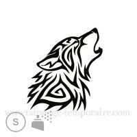 Tatouage éphémère loup tribal. Dim : 5cm x 6cm