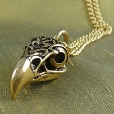 """Golden Eagle Necklace Eagle Skull Pendant with Tribal Design Bronze Eagle Skull on 24"""" Gold Plated Chain"""