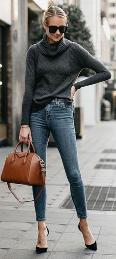 what to get on amazon to wear to the office skinny jeans + black pumps + a high neck sweater
