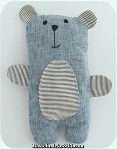 Sample Sale - Blue Linen Bailey Bear (Sold) Today this stuffed bear . - art - Sample Sale – Blue Linen Bailey Bear (Sold) Today this stuffed bear is available to a - Sewing Toys, Baby Sewing, Sewing Crafts, Sewing Projects, Fabric Toys, Fabric Crafts, Baby Crafts, Diy And Crafts, Creative Crafts