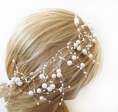 Wedding Pearl  headband Pearl tie headband  for by ADbrdal on Etsy, $29.00