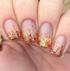 If you're looking to do seasonal nail art, spring is a great time to do so. The springtime is all about color, which means bright colors and pastels are becoming popular again for nail art. These types of colors allow you to create gorgeous nail art. Nail Designs 2017, Fall Nail Art Designs, Cute Nail Designs, Fall Designs, Toenail Designs Fall, Glitter Nail Designs, Fingernail Designs, Pedicure Designs, Glitter Gradient Nails