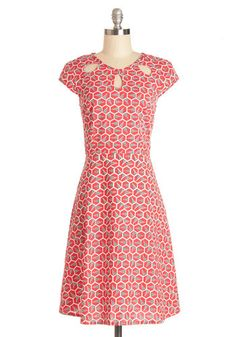 Fete with Friends Dress by Mata Traders - Red, Tan / Cream, Print, Cutout, Casual, A-line, Cap Sleeves, Woven, Better, Scoop, Eco-Friendly, ...